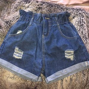 High rise cinched waist distressed shorts